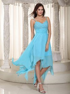 Ruched Straps Beading Baby Blue Prom Maxi Dress with Asymmetrical Hem