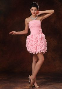 Strapless Baby Pink Ruffles and Hand Made Flowers 2013 Prom Gowns