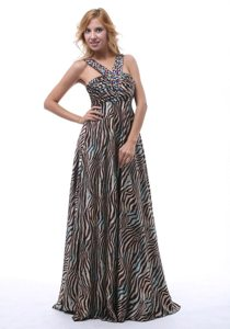 Gorgeous Zebra Beaded Decorate Straps V-neck Floor-length Prom Dress
