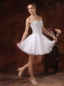 Sweetheart Beaded A-line Mini-length White Prom Dress In California