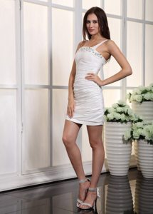 One Shoulder White Mini-length Prom Dress with Ruching and Beading