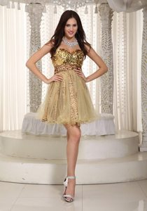 A-line Sweetheart Mini-length Sequins Leopard Prom Dress in Champagne
