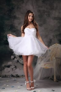 Mini-length White Organza Prom Dress with Sweetheart and Crossed Bodice