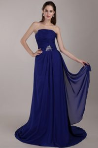 Strapless Peacock Blue Empire Prom Dress Court Train Chiffon Sequins