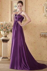 Empire One Shoulder Brush Train Eggplant Beaded and Ruched Prom Dress