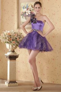 One Shoulder Eggplant Mini-length Hand Flowers and Beading Prom Dress