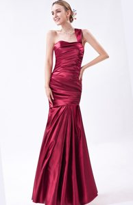 Mermaid One Shoulder Ruched Wine Red Long Dress For Prom Princess