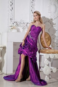 Purple Sweetheart Hand Made Flowers and Beading High-low Prom Dress