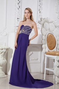Elegant Purple Color Sweetheart Beading Prom Dress Court Train