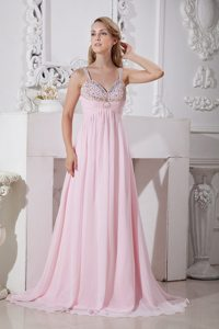 Straps Light Pink Chiffon Prom Dress with Gold and Silver Beading
