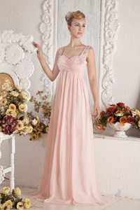 Empire Straps Beading and Ruche Baby Pink Prom Dress Brush Train