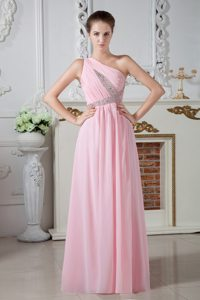Chiffon One Shoulder Beading Ruched Baby Pink Long Prom Maxi Dresses