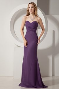 Sweetheart Dark Purple Column Brush Train Chiffon Ruched Prom Dress