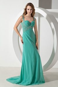 Column Green Straps Brush Train Chiffon Beading Ruching Prom Dress