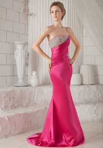 Wonderful Hot Pink Mermaid Strapless Brush Train Beading Prom Dress