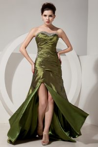 Olive Green Sweetheart Beading and Ruching Brush Train Prom Dress