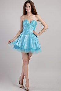 Aqua Blue A-line Sweetheart Mini-length Beading and Sequins Prom Gown