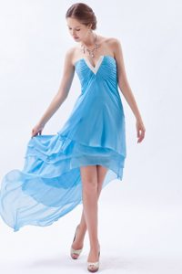 V-neck Beading High-low Layers Chiffon Baby Blue Prom Cocktail Dress