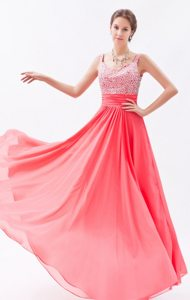 Straps Beading Coral Red Chiffon Floor-length Prom Celebrity Dresses
