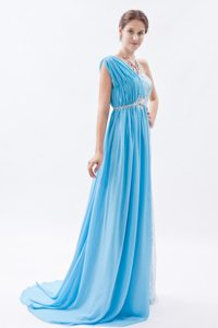 Baby Blue One Shoulder Prom Dress with Lace and Beading Brush Train