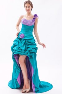 Teal and Lavender A-line One Shoulder Beaded Prom Dress High-low