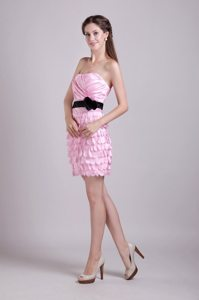 Pink Column Strapless Mini-length Prom Dress with Sash and Ruche