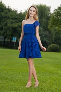 Flounced One Shoulder Ruffled Mini-length Blue Chiffon Prom Evening Dress