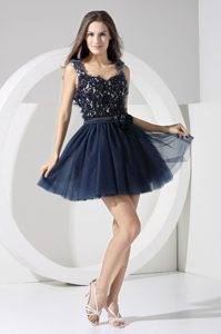 Straps Hand Made Flowers Sash Back Out Navy Blue Prom Formal Dress