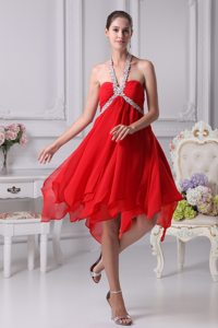 Appliques Halter Beaded Red Prom Party Dresses with Asymmetrical Hem