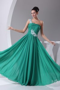 Floral Appliques One Shoulder Prom Gowns Pleated Column Chiffon
