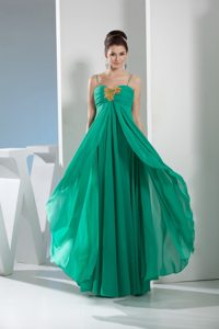 Beaded appliques straps layers Green chiffon Prom Homecoming Dress