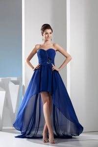 High Low Sweetheart Beaded Ruches Royal Blue Chiffon Prom Dress