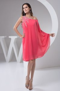 One Shoulder Beaded Knee Length Chiffon Watermelon Prom Maxi Dress