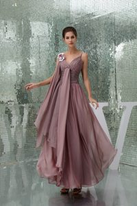 Ruched Straps Handmade Flowers Burgundy Chiffon Prom Party Dress