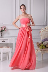 Strapless Sash Back Out Chiffon Watermelon Floor Length Prom Dress