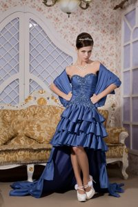 Royal Blue High-low Taffeta Beaded Sweetheart Prom Gown Dress