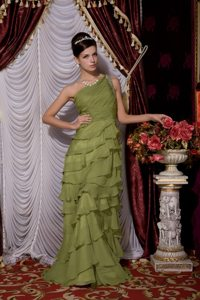 Olive Green Brush Chiffon Beaded Prom Dress with One Shoulder