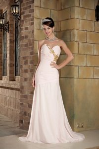 Beaded Sweetheart Brush Train Chiffon Prom Gown in Light Pink
