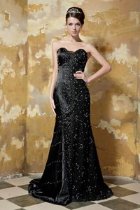 Taffeta Black Sequined Column Sweetheart Brush Prom Gown