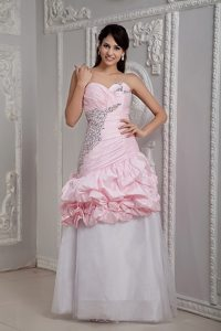 Mermaid Baby Pink and White Beaded Prom Dress with Pick-ups