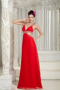 Sexy 2013 Crisscross Back Red Straps Chiffon Prom Gown Beaded