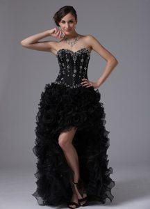 Sweetheart High-low Beaded Black Ruffled Prom /Evening Dress