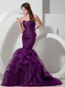 Purple Court Train Trumpet Sweetheart Organza Beaded Prom Gown