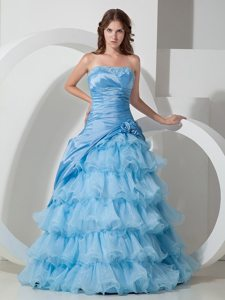Baby Blue Organza Strapless Hand Flowers Prom Dress Ruffled