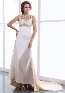 Beaded Champagne Watteau Train Straps Prom Dress with Ruching