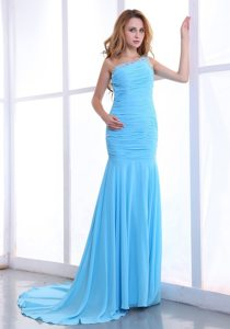 One Shoulder Ruched Chiffon Brush Prom Dress in Light Blue