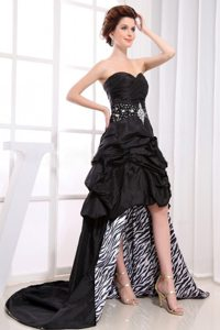 Black Sweetheart High-low Prom Dress with Pick-ups Beaded 2013
