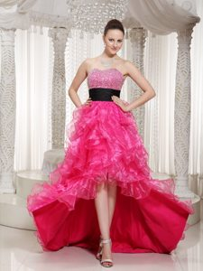 Hot Pink High-low Beaded Belt Prom Party Dress with Ruffles