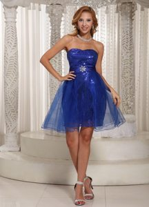 Strapless A-line Peacock Blue Sequined Mini-length Prom Dress