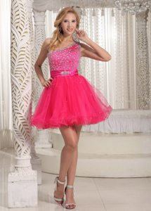 One Shoulder Mini-length Hot Pink Beaded Prom Dress in CA